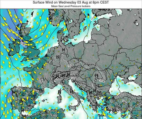 Kosovo Surface Wind on Thursday 23 May at 8am CEST map