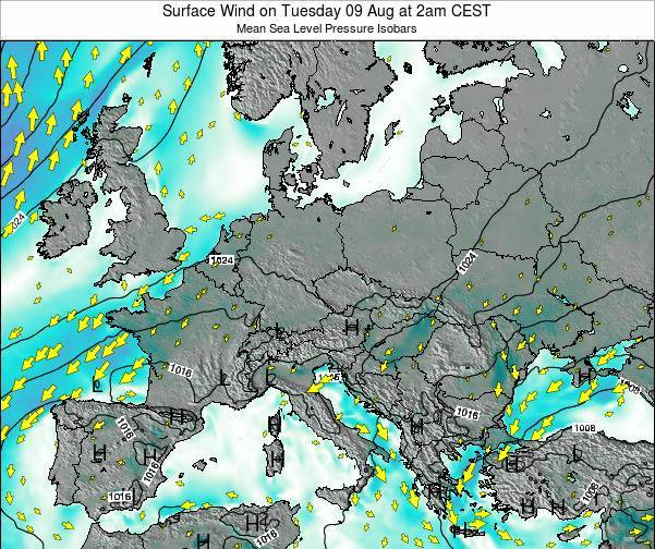 Croatia Surface Wind on Sunday 27 Jul at 8am CEST
