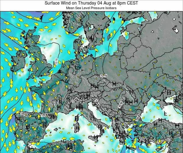 Croatia Surface Wind on Friday 01 Jun at 2am CEST map
