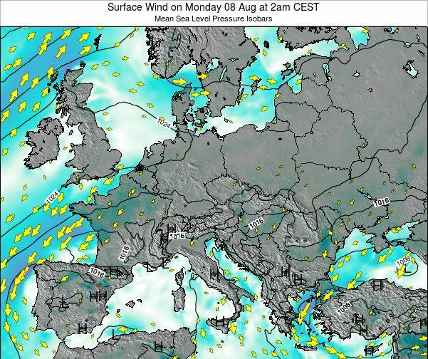 Croatia Surface Wind on Monday 28 Apr at 2am CEST