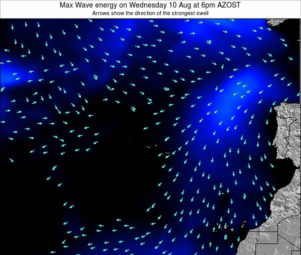 Azores Portugal Max Wave energy on Wednesday 22 May at 12am AZOST