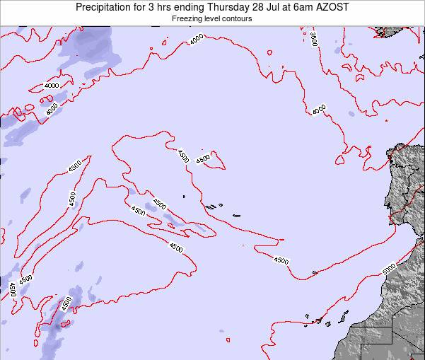 Azores Portugal Precipitation for 3 hrs ending Monday 24 Jun at 12am AZOST