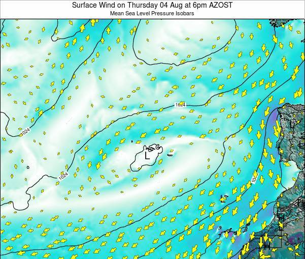 Azores Portugal Surface Wind on Saturday 31 Jan at 5am AZOT