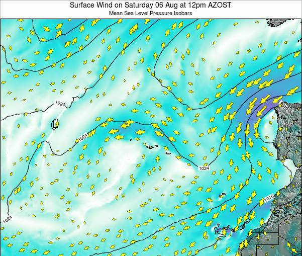 Azores Portugal Surface Wind on Wednesday 18 Jan at 11pm AZOT