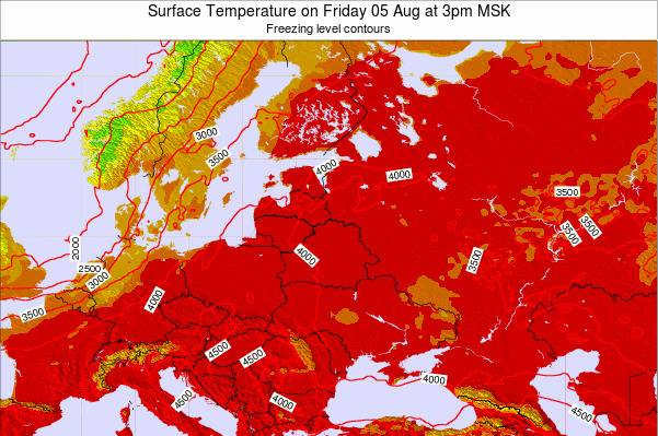 Lithuania Surface Temperature on Thursday 21 Jun at 3am MSK map
