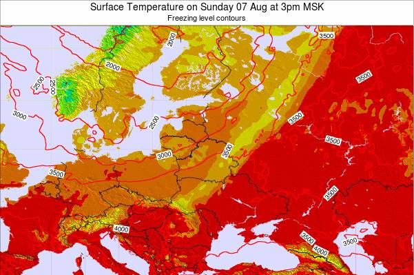 Lithuania Surface Temperature on Sunday 19 Aug at 3pm MSK map