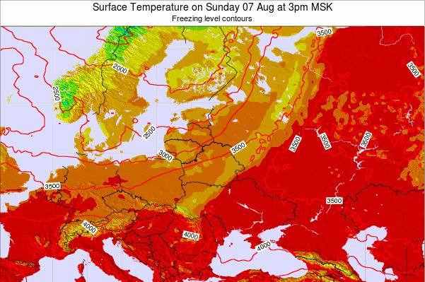 Lithuania Surface Temperature on Sunday 21 Dec at 3pm FET