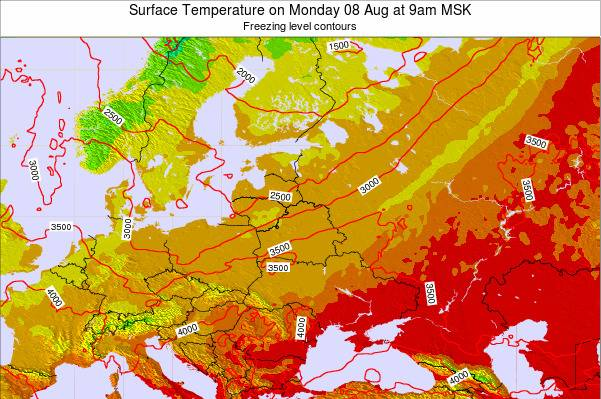 Lithuania Surface Temperature on Tuesday 25 Oct at 3pm MSK