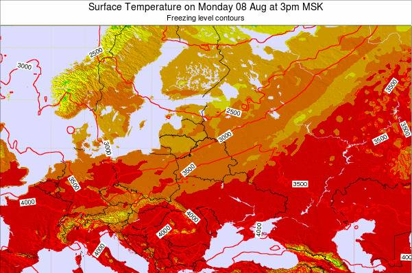 Lithuania Surface Temperature on Tuesday 21 May at 3am FET