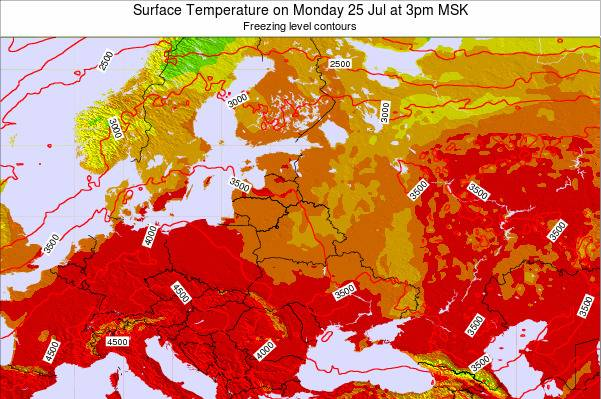Lithuania Surface Temperature on Monday 28 Jul at 9pm FET