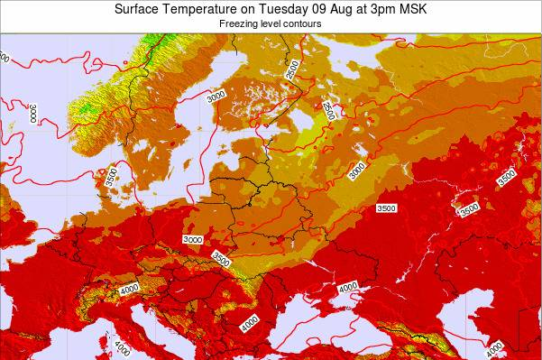 Lithuania Surface Temperature on Friday 29 Sep at 3am MSK