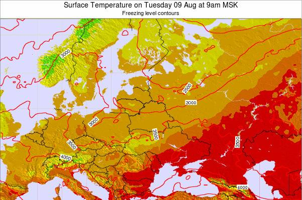 Lithuania Surface Temperature on Monday 23 Jan at 9pm MSK