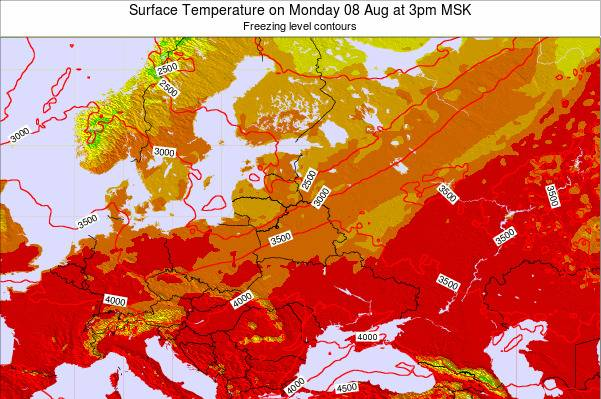 Lithuania Surface Temperature on Monday 21 Apr at 9am FET