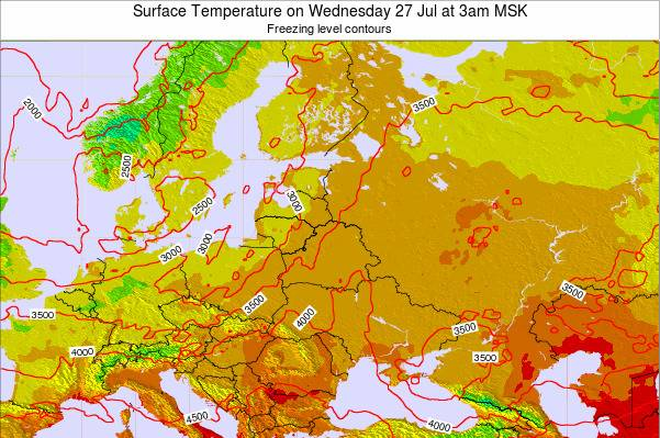 Lithuania Surface Temperature on Monday 04 Aug at 9pm FET