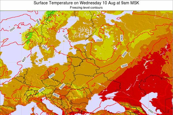 Lithuania Surface Temperature on Monday 16 Dec at 3am FET