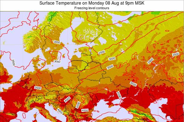 Lithuania Surface Temperature on Wednesday 28 Feb at 9am MSK map