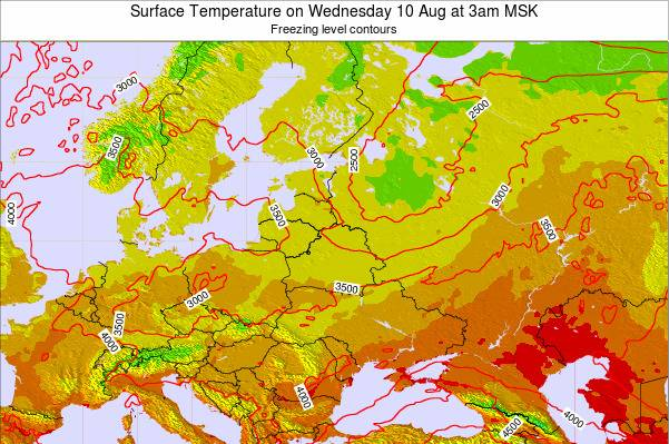 Lithuania Surface Temperature on Monday 28 Jul at 9am FET