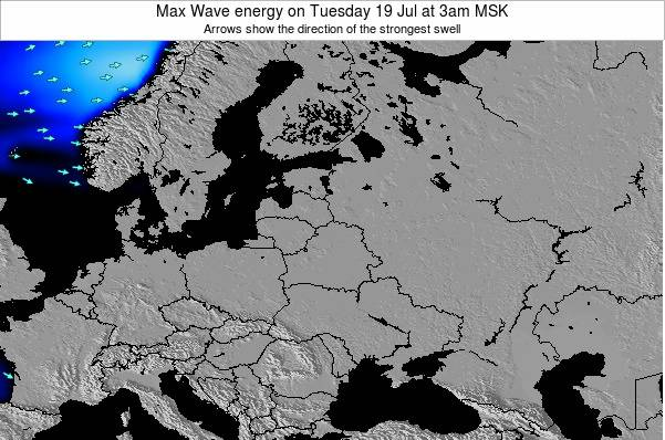 Latvia Max Wave energy on Tuesday 22 Jan at 9pm MSK map
