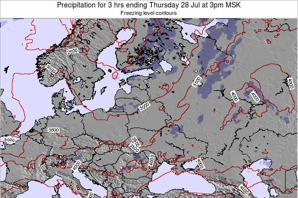 Latvia Precipitation for 3 hrs ending Monday 24 Jun at 3am FET