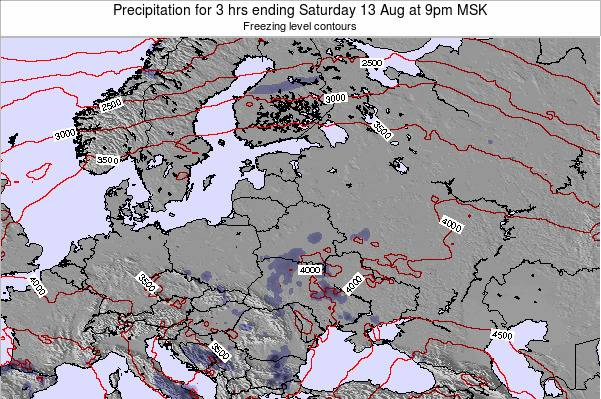 Lithuania Precipitation for 3 hrs ending Friday 24 May at 3pm FET