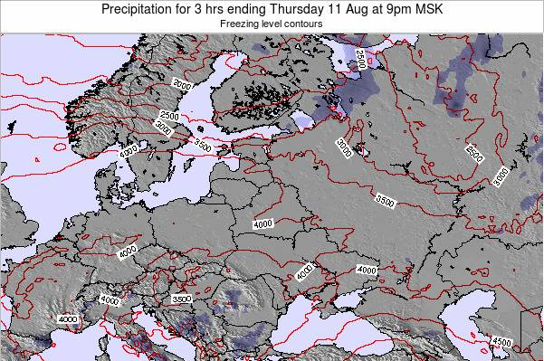 Latvia Precipitation for 3 hrs ending Monday 28 Apr at 9pm FET