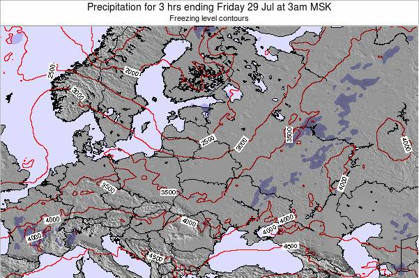 Latvia Precipitation for 3 hrs ending Friday 26 Sep at 9pm FET