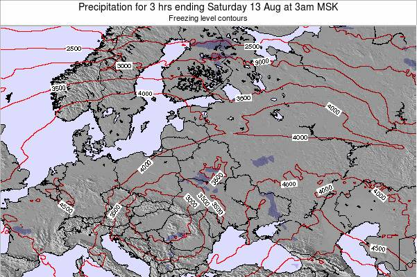Latvia Precipitation for 3 hrs ending Sunday 03 Aug at 9am FET