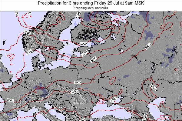 Estonia Precipitation for 3 hrs ending Monday 24 Jun at 9pm FET
