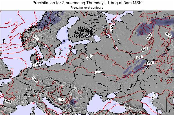 Latvia Precipitation for 3 hrs ending Thursday 31 Jul at 3am FET
