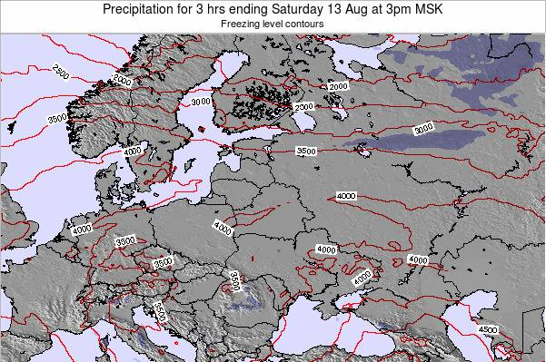 Latvia Precipitation for 3 hrs ending Monday 28 Aug at 3am MSK