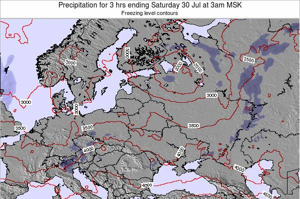 Latvia Precipitation for 3 hrs ending Friday 07 Aug at 9am MSK