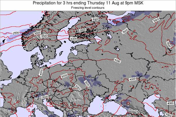 Latvia Precipitation for 3 hrs ending Monday 10 Mar at 9pm FET