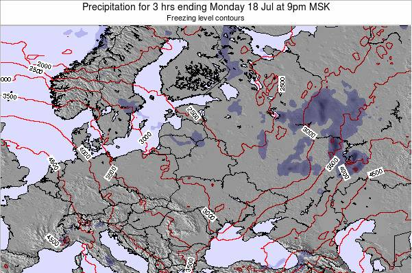 Latvia Precipitation for 3 hrs ending Sunday 27 Jul at 9am FET