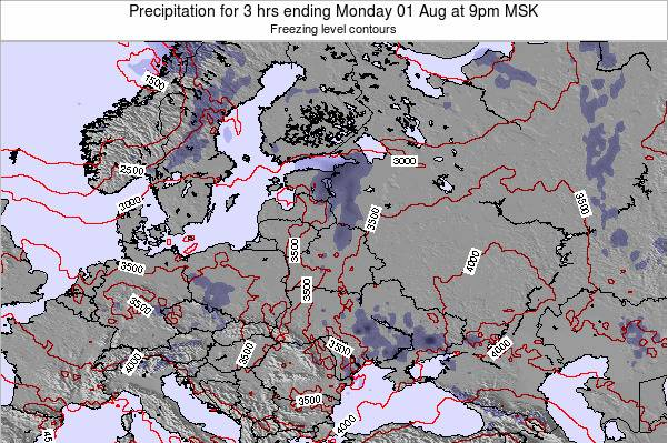 Latvia Precipitation for 3 hrs ending Tuesday 29 Jul at 9pm FET