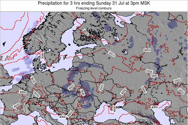 Latvia Precipitation for 3 hrs ending Saturday 01 Aug at 3pm MSK