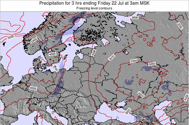 Belarus Precipitation for 3 hrs ending Sunday 19 May at 9pm FET map