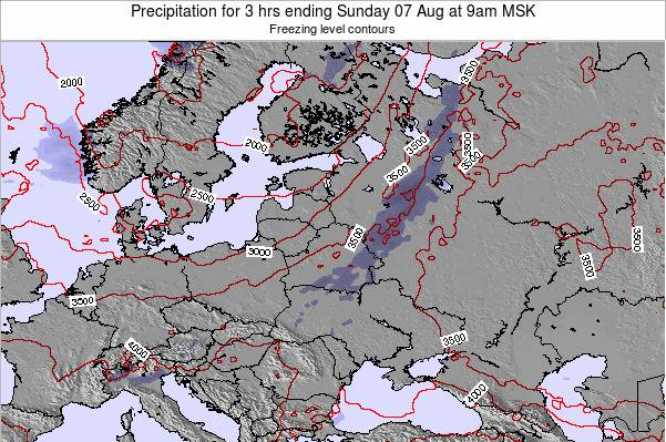 Estonia Precipitation for 3 hrs ending Sunday 03 Aug at 3am FET