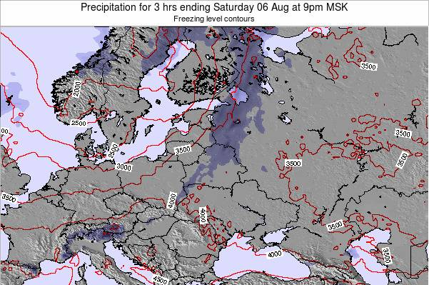 Estonia Precipitation for 3 hrs ending Monday 10 Mar at 3am FET