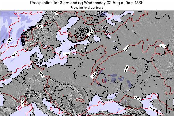 Estonia Precipitation for 3 hrs ending Thursday 20 Jun at 9am FET