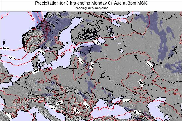 Estonia Precipitation for 3 hrs ending Wednesday 30 Jul at 3pm FET