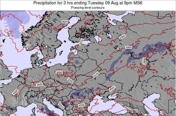 Latvia Precipitation for 3 hrs ending Friday 25 Apr at 9pm FET