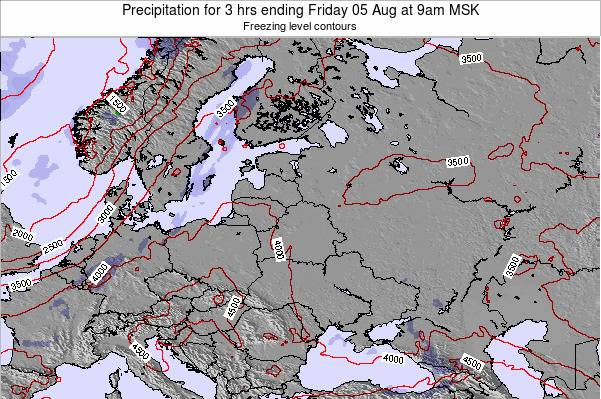 Latvia Precipitation for 3 hrs ending Friday 25 Jul at 3am FET