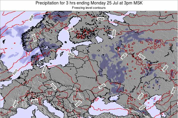 Latvia Precipitation for 3 hrs ending Saturday 23 Aug at 9am FET