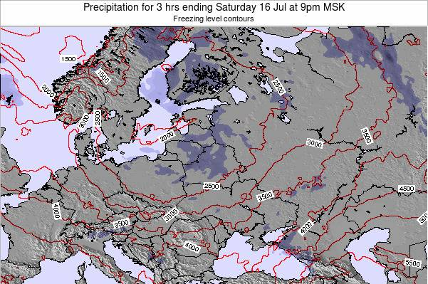 Belarus Precipitation for 3 hrs ending Sunday 23 Jun at 9am FET map