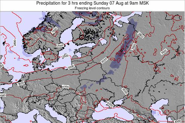 Latvia Precipitation for 3 hrs ending Friday 01 Aug at 9am FET