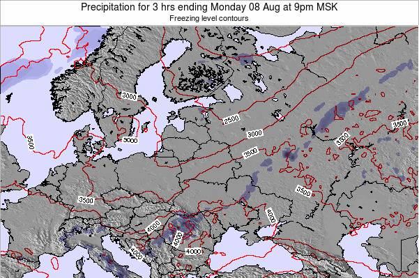 Latvia Precipitation for 3 hrs ending Saturday 01 Aug at 9am MSK