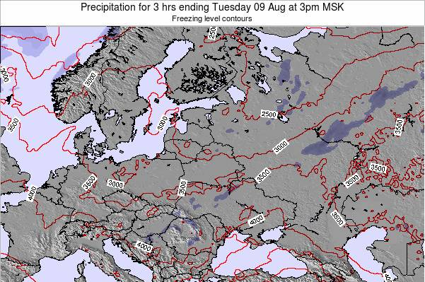 Latvia Precipitation for 3 hrs ending Monday 02 Mar at 9pm FET