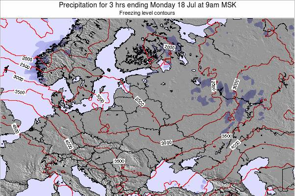 Latvia Precipitation for 3 hrs ending Monday 28 Jul at 9pm FET