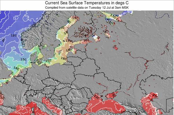 Lithuania Zeetemperatuur Kaart