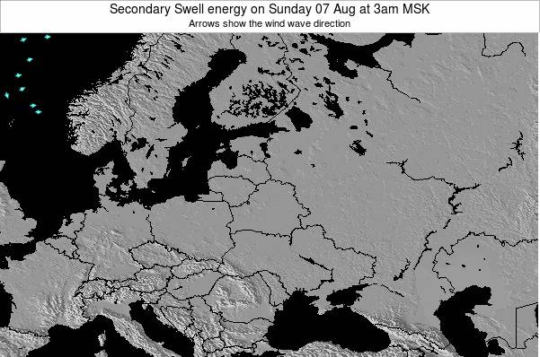 Latvia Secondary Swell energy on Wednesday 16 Jan at 9pm MSK map